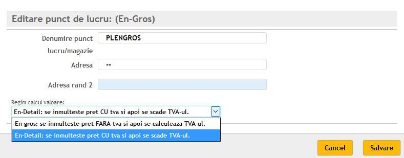 Optiune setare regim calcul valoare vanzare (cu sau fara tva)