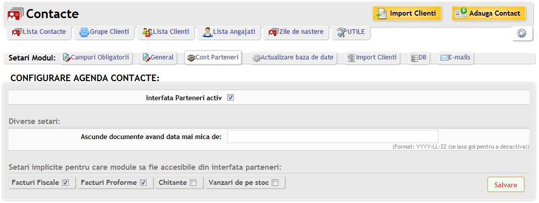 interfata clienti unde se pot verifica facturi si alte documente