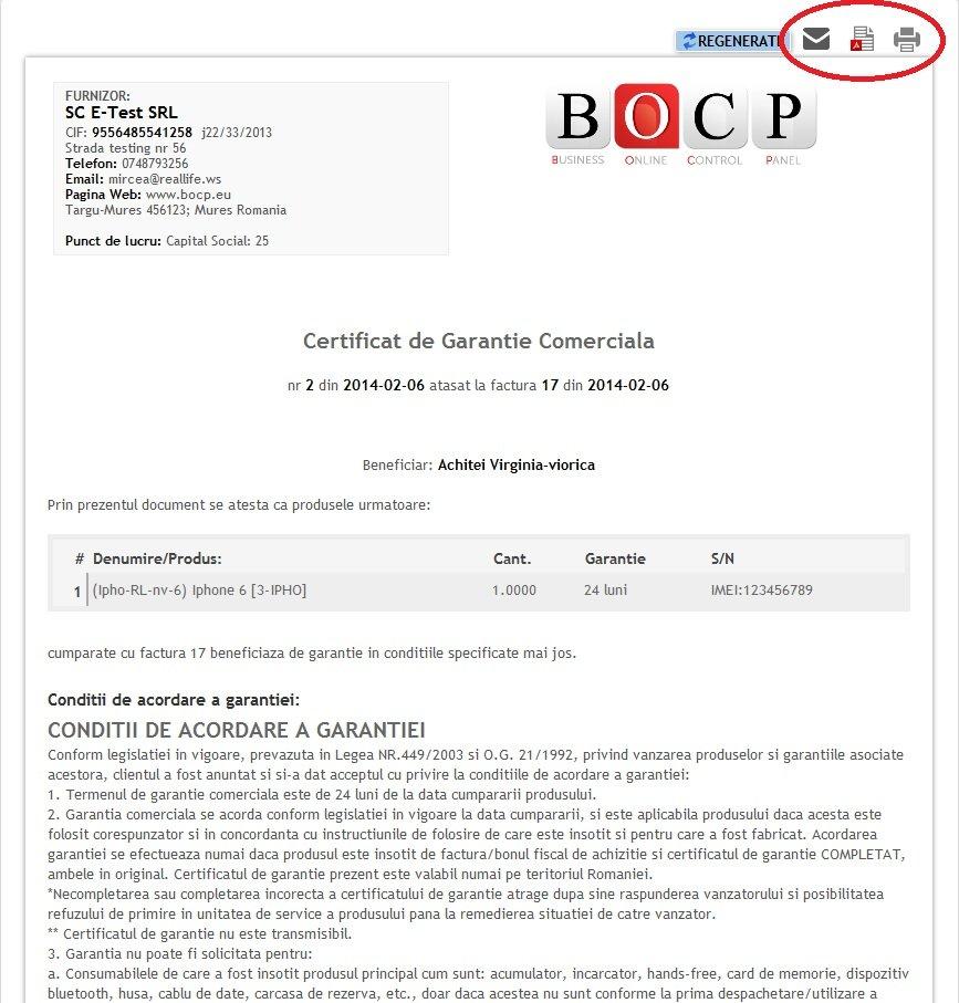 Certificat de garantie comerciala