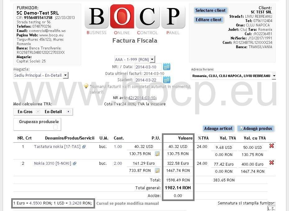 Exemplu factura fiscale cu produse facturate in mai multe valute