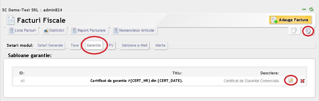 Editare sablon Certificat de garantie