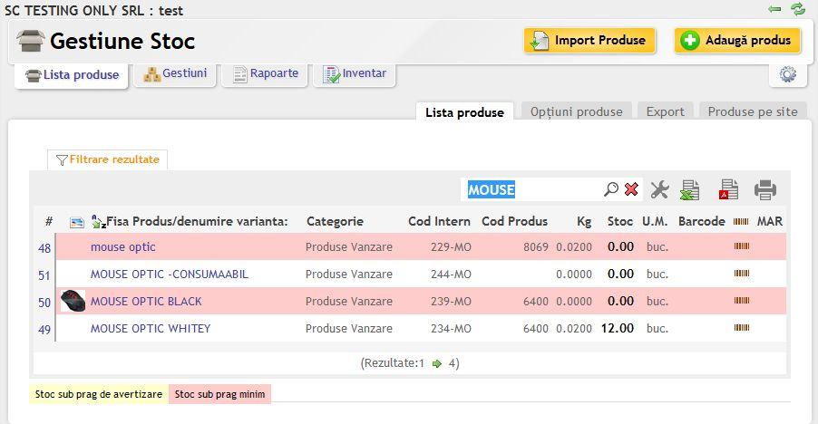 Lista produse din gestiune cu imagini la fiecare produs