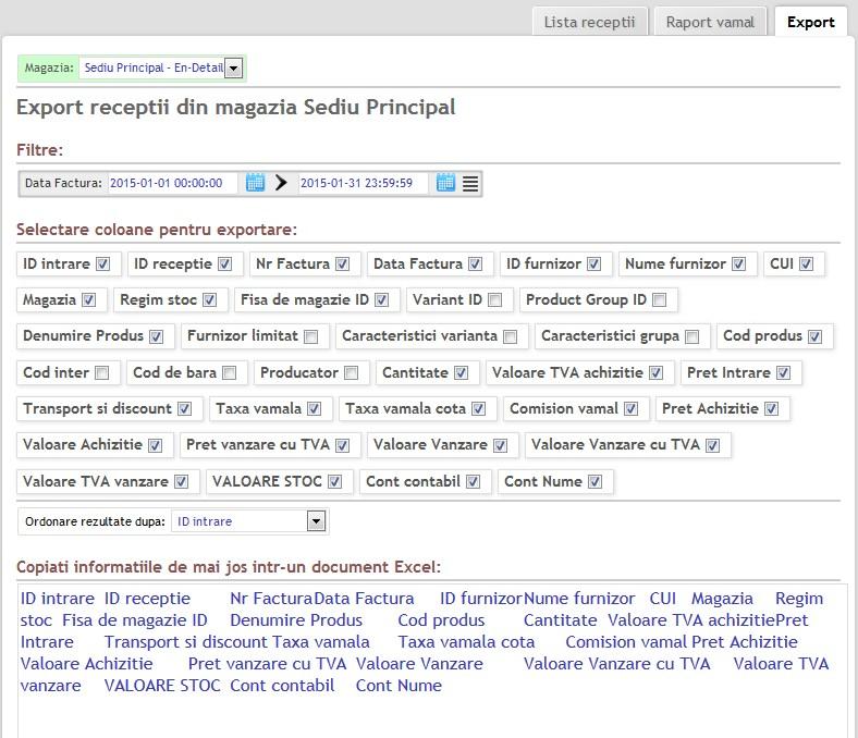 Export lista facturi receptionate din soft gestiune online